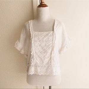 Edwardian Style Crop Top with Embroidery & Eyelets